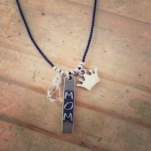 Jewelry - MOM Charm Necklace with Swarovski Crystal